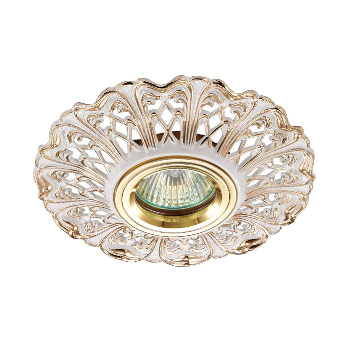 NOVOTECH 370033 Встраиваемый светильник неповоротный 1x50W GX5.3 IP20 белый с золотым декором