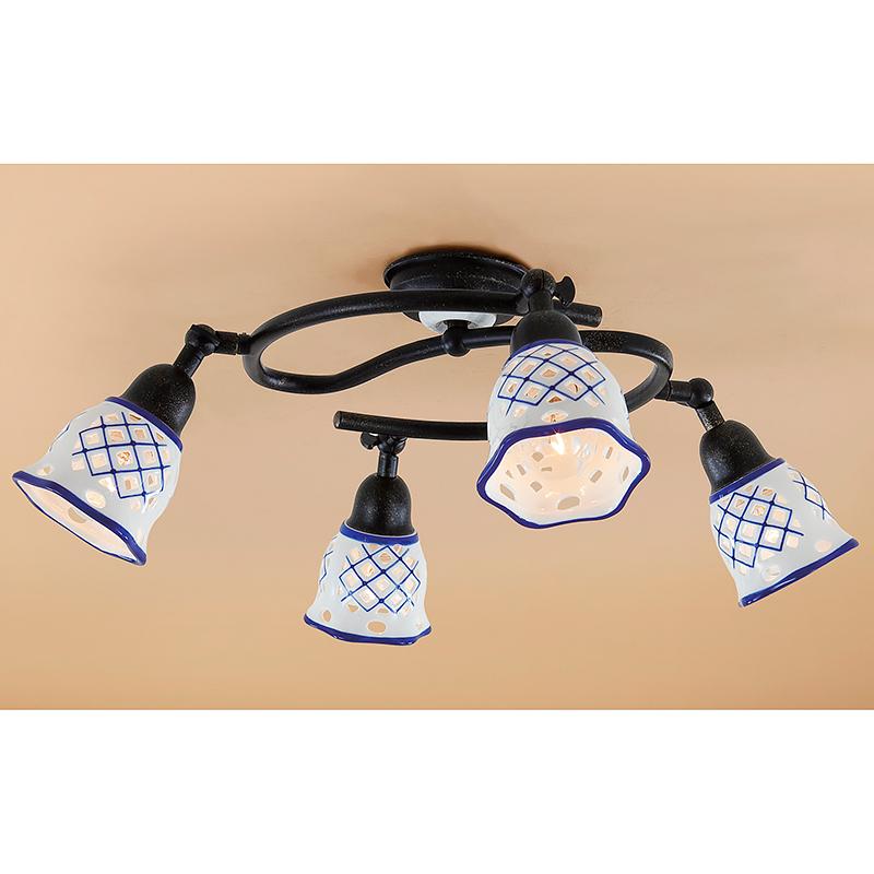 Citilux CL534541 Люстра потолочная Ажур 4x60W E14 Черный / Белый + синий