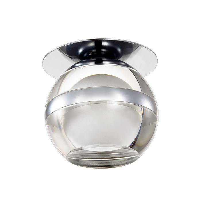 NOVOTECH 357158 Встраиваемый светильник неповоротный 1x3W LED холодный белый IP20 хром / прозрачный акрил