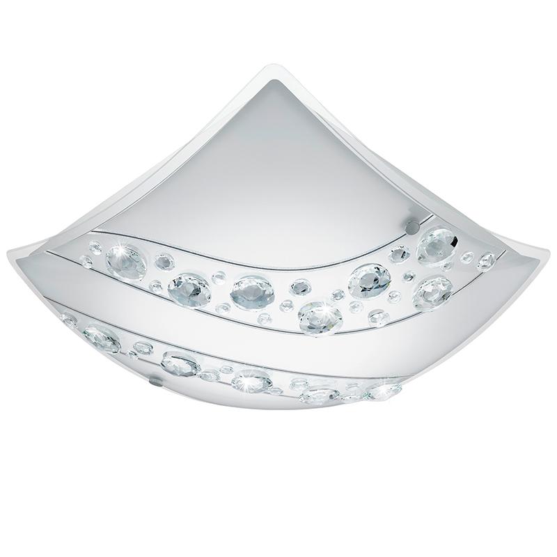 EGLO 95578 Светодиод. наст.-потол. светильник NERINI, 16W(E27), 340х340, сталь, белый/стекло, хрусталь, белый, черн., прозрач.