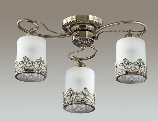 LUMION 3070/3C люстра потолочная CITADELLA 3x40W E27 бронзовый/стекло/метал. декор