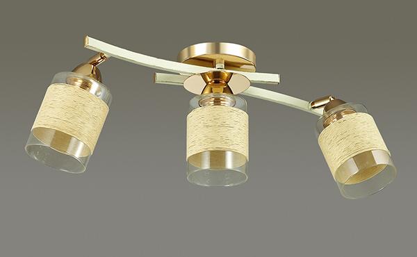 LUMION 3029/3CA люстра потолочная FILLA 3x60W E27 золото/беж/стекло/декор.тесьма