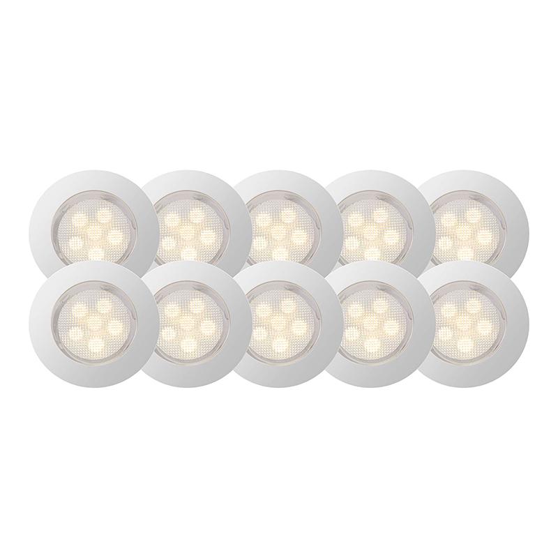Brilliant G03094/75 Комплект из 10-х встраиваемых светильников COSA 45 60x0,07W  LED хром/прозрачный IP44