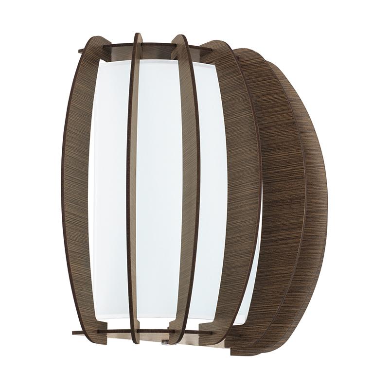 EGLO 95594 Бра STELLATO 3, 1X60W (E27), L285, H250, сталь, белый/дерево, стекло, коричневый
