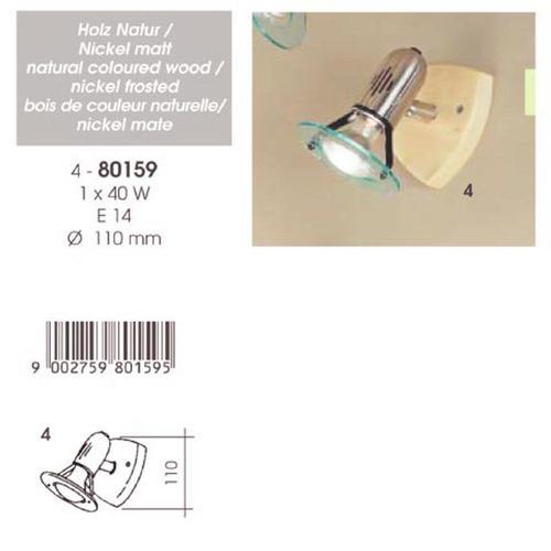 Eglo 80159 Подсветка BINGO 1x40 Е14 Светлое дерево, никель матовый/Прозрачный