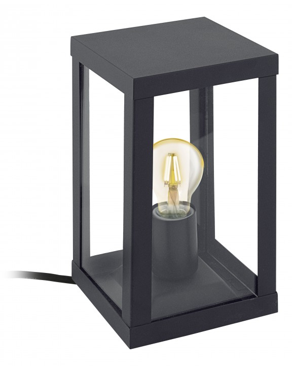 94789 Уличная настольная лампа  ALAMONTE, 1х60W (E27), H275, гальван. сталь, черный/стекло Eglo