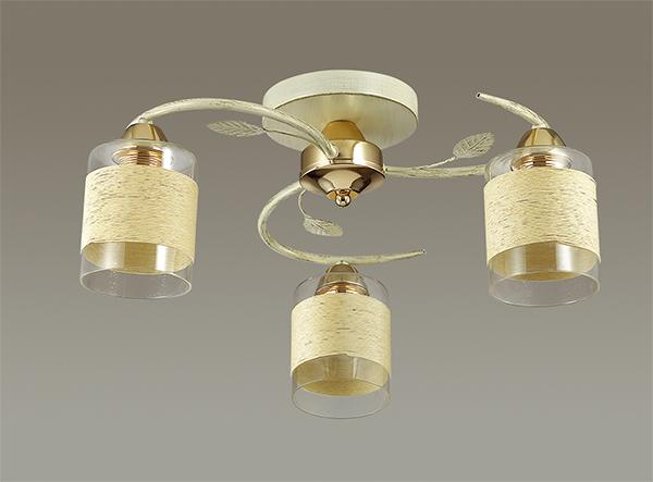 LUMION 3029/3C люстра потолочная FILLA 3x60W E27 золото/беж/стекло/декор.тесьма