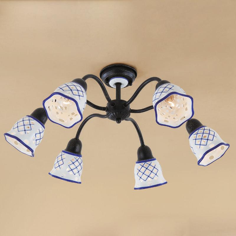 Citilux CL534161 Люстра потолочная Ажур 6x60W E14 Черный / Белый + синий