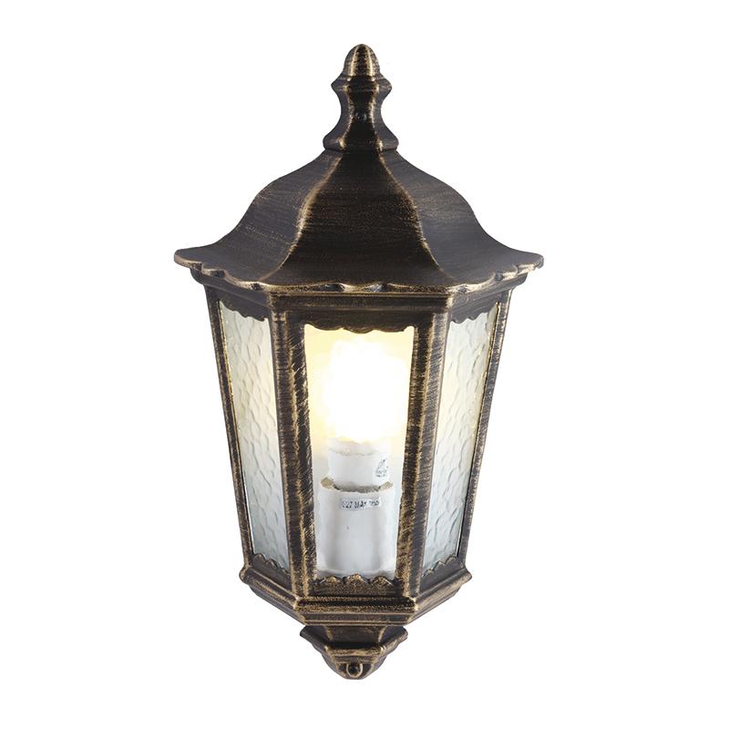 Arte Lamp A1809AL-1BN уличный настенный светильник  PORTICO 1x60W E27 черно-золотой  IP44