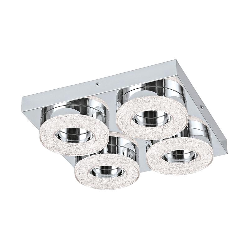 EGLO 95664 Светодиод. наст.-потол. светильник FRADELO, 4х4W(LED), 280х280, сталь, хром/пластик с кристал., хром, прозрач.