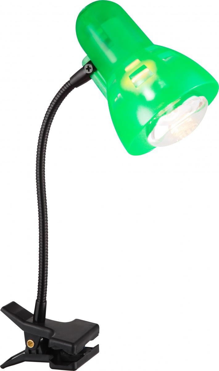 Globo 54854 Настольная лампа CLIP 1x40W E27 зеленый
