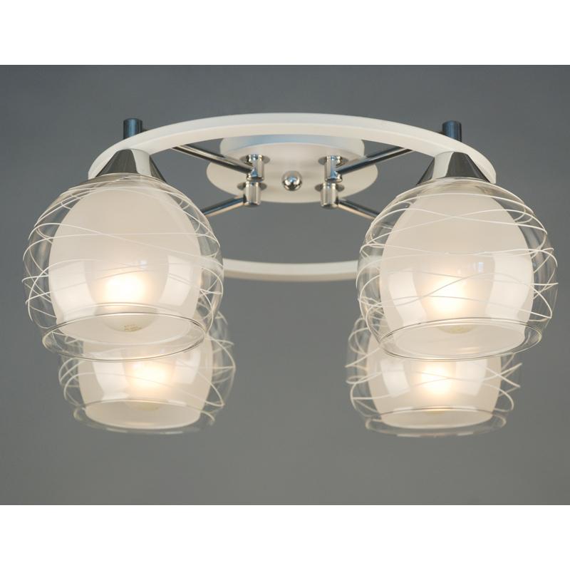 Citilux CL157141 Люстра потолочная Буги 4x75W E27 Белый + хром / Прозрачный + матовый