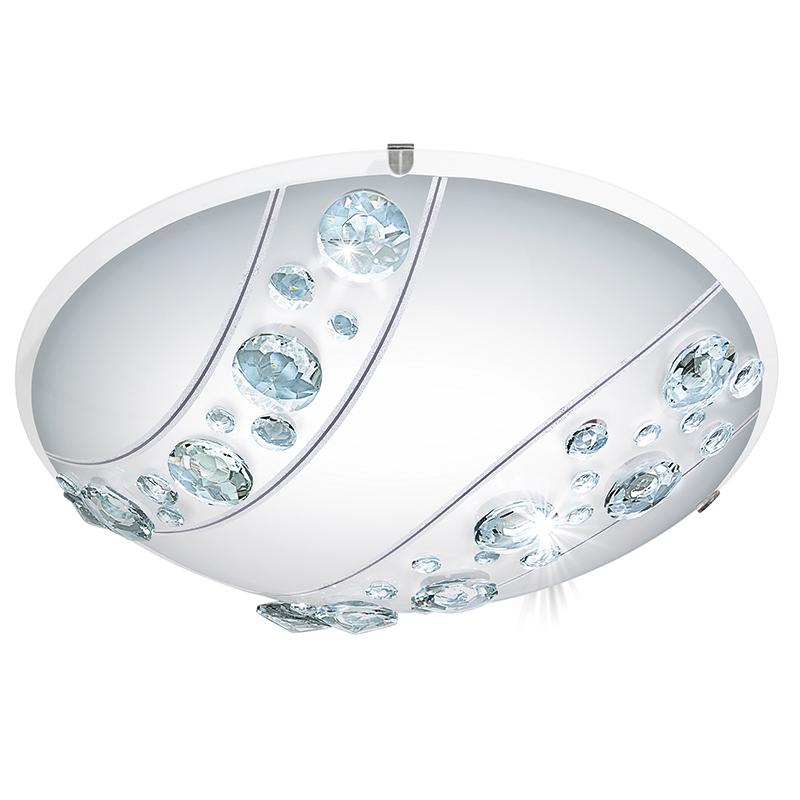 EGLO 95576 Светодиод. наст.-потол. светильник NERINI, 16W(LED), ?315, сталь, белый/стекло, хрусталь, белый, черн., прозрач.