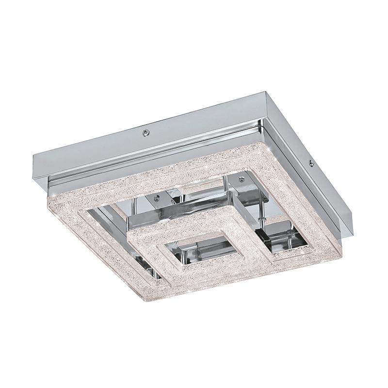 EGLO 95659 Светодиод. потол. светильник FRADELO, 12W(LED), 240х240, сталь, хром/пластик с кристал., хром, прозрач.