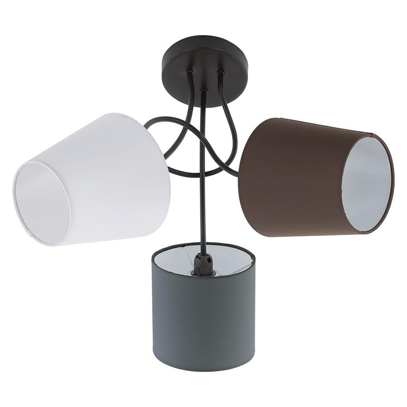EGLO 95192 Потолочный светильник ALMEIDA, 3х40W (E14), ?590, сталь, черный/текстиль, антрацит, белый, коричневый