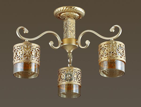 3286/3C LN17 153 бронза/серебр.патина/стекло/метал.декор/хрустал. подвеска Люстра потолочная 3*40W Lumion