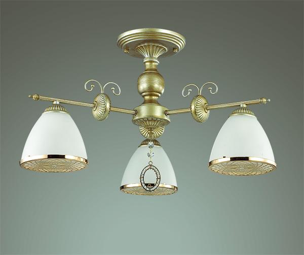 3455/3C LN17 067 матовое золото/стекло Люстра потолочная E14 3*40W 220V GASPARDO Lumion