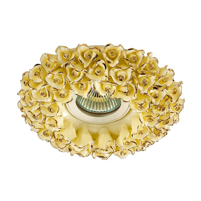 NOVOTECH 370045 Встраиваемый светильник неповоротный 1x50W GX5.3 IP20 желтый с золотым декором