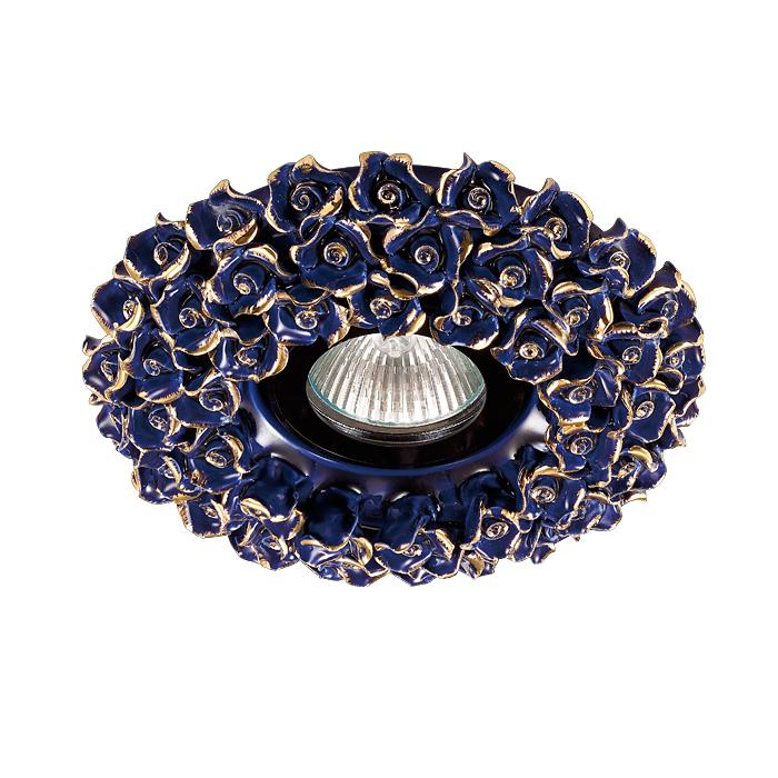 NOVOTECH 370043 Встраиваемый светильник неповоротный 1x50W GX5.3 IP20 синий с золотым декором