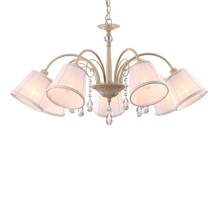 Arte Lamp A9515LM-7WG Люстра ALEXIA 7x40W E14 бело-золотой / белый