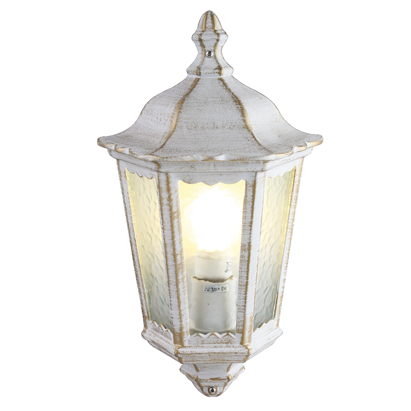 Arte Lamp A1809AL-1WG уличный настенный светильник  PORTICO 1x60W E27 бело-золотой IP44