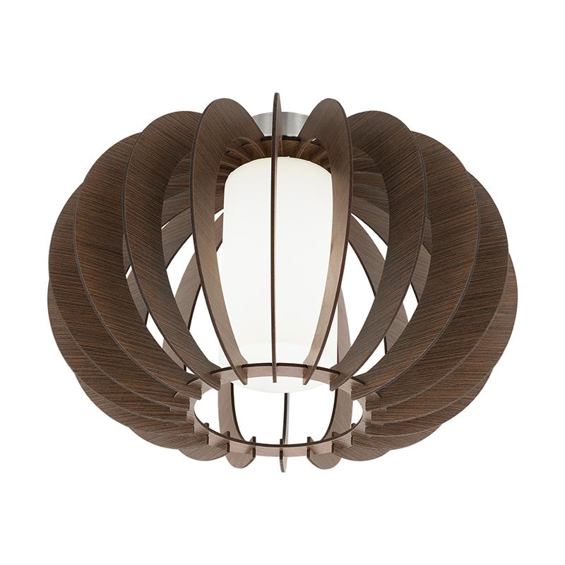 EGLO 95589 Потолочный светильник STELLATO 3, 1X60W (E27), ?400, H275, сталь, никель матовый /дерево, стекло, коричневый, белый