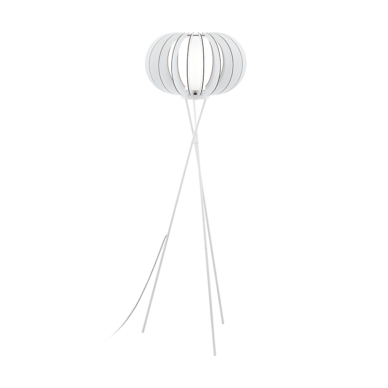 EGLO 95612 Торшер с ножн. выкл. STELLATO 2, 1х60W(E27), L285, H250, сталь, белый/дерево, стекло, белый