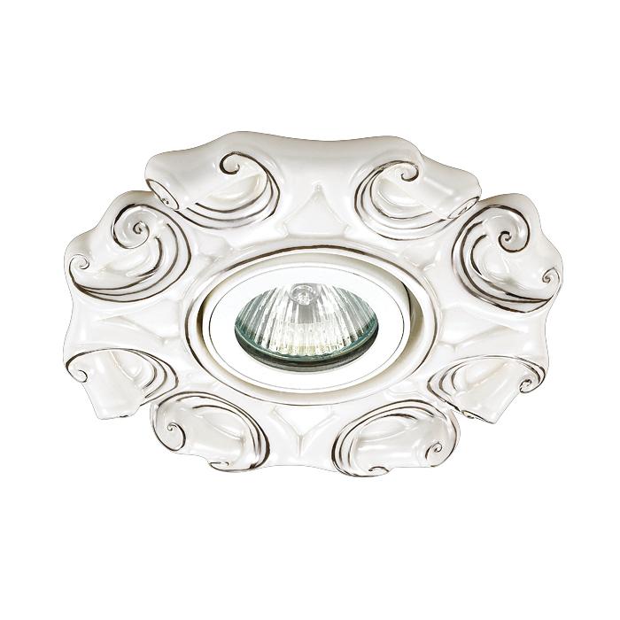 NOVOTECH 370041 Встраиваемый светильник неповоротный 1x50W GX5.3 IP20 белый с серебряным декором