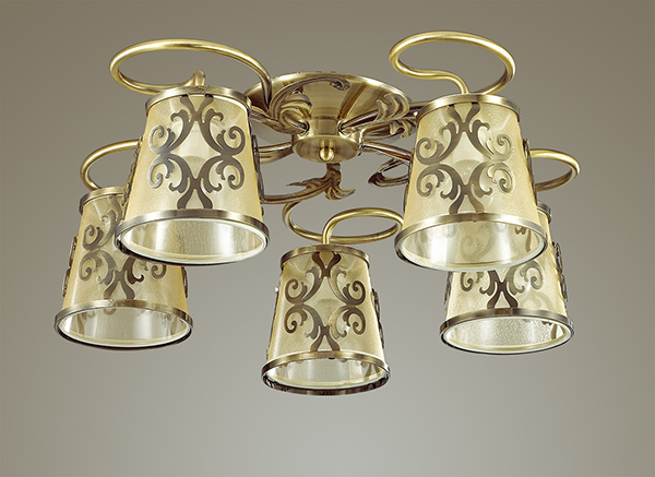 3418/5C LN17 058 бронзовый/абажур ткань/метал.декор Люстра потолочная E14 5*60W 220V LACRESSA Lumion