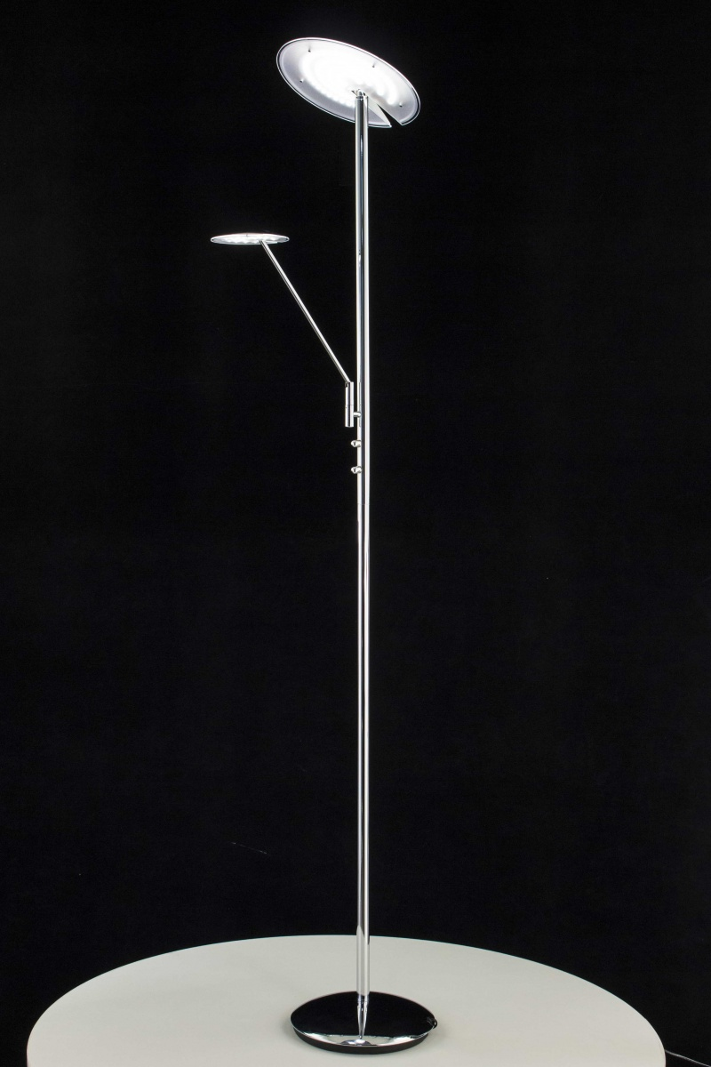 CITILUX CL802001 Торшер с рабочей лампой ДИСКУС 2x18 + 5W LED хром / белый