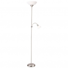 Arte Lamp A9569PN-2SS Торшер DUETTO 2x60+25W Е27 + Е14 матовое серебро