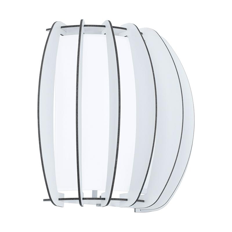 EGLO 95609 Бра STELLATO 2, 1X60W (E27), L285, H250, сталь, белый/дерево, стекло, белый