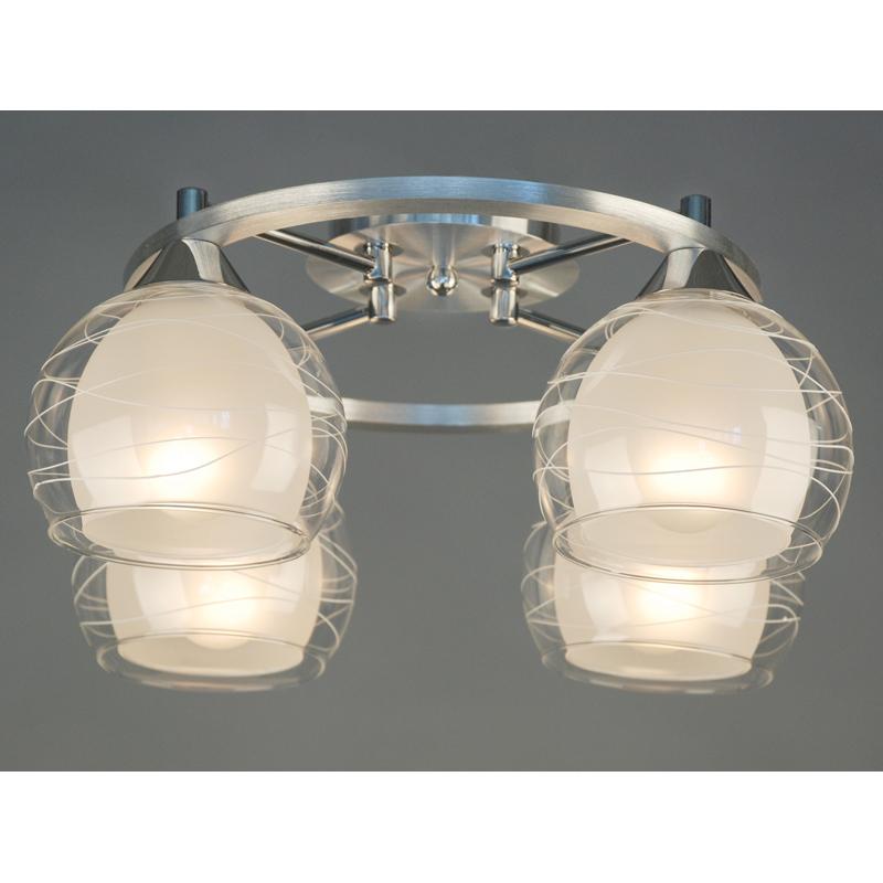 Citilux CL157142 Люстра потолочная Буги 4x75W E27 Aлюминий + хром / Прозрачный + матовый
