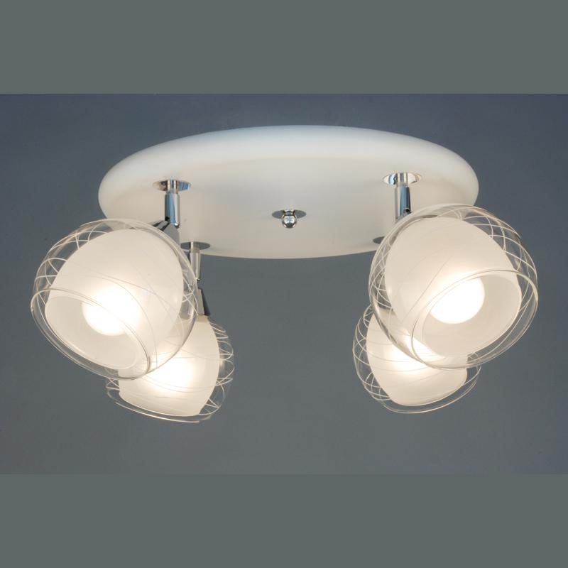 Citilux CL158141 Люстра потолочная Самба 4x75W E27 Белый + хром / Прозрачный + матовый