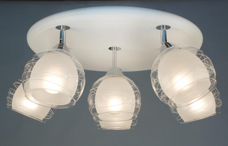 Citilux CL158161 Люстра потолочная Самба 6x75W E27 Белый + хром / Прозрачный + матовый