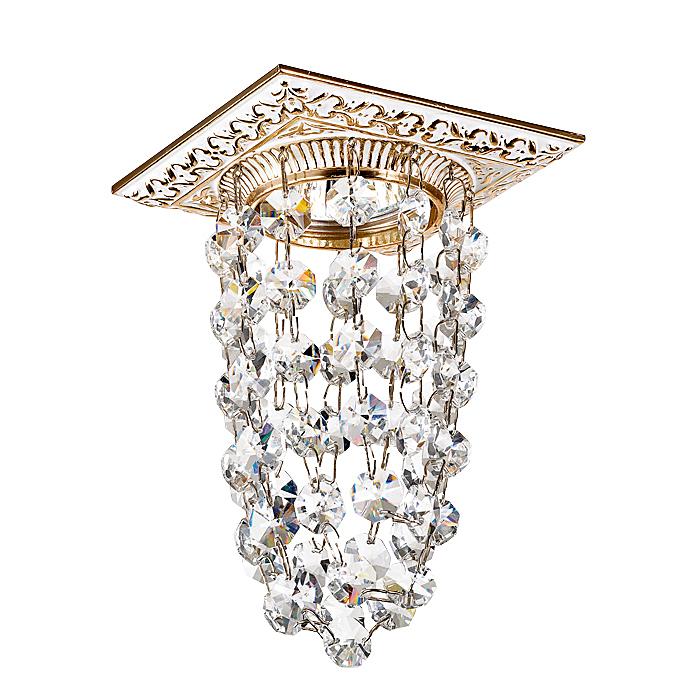 NOVOTECH 369994 Встраиваемый светильник неповоротный 1x50W GX5.3 IP20 белый с золотым декором