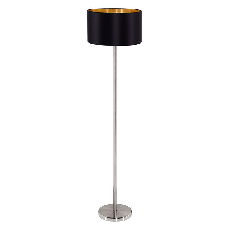 EGLO 95169 Торшер MASERLO с ножн.выкл., 1х60W (E27), ?380, H1510, никель матовый/текстиль, черный, золотой