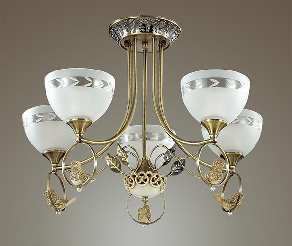 3403/5C LN17 116 бронзовый/стекло/декор полирезина Люстра потолочная E14. 5*40W 220V HORAS Lumion